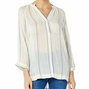 New Michael Stars Long Sleeve Beach Stripe Top